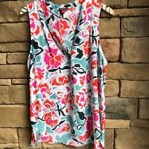 Vince Camuto Light Blue Floral Sleeveless Blouse